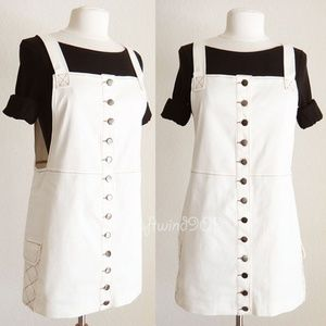 Cream Button Down Overall Skirt Pinafore Dress